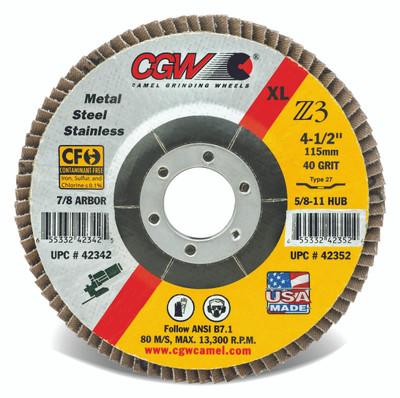 CGW Flap Disc 4-1/2x7/8 T27 Z3 Reg 40 Grit Zirconia  - 42302