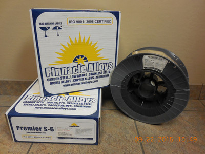 "Pinnacle Alloys PREMIER S-6 (ER70S-6) .035"" x 44# MIG 03570S6M44"