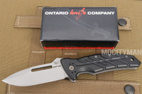 Ontario XM-12 Prototype Black Folding Knife Tactical - Aluminum Grip - Open Back Spline - Made in Italy - NEW (14402)