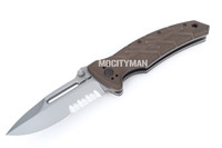 Ontario XM-12 Prototype Coyote Brown Serrated Folding Knife Tactical - Plastic Grip - Open Back Spline - Made in Italy - NEW (22107)