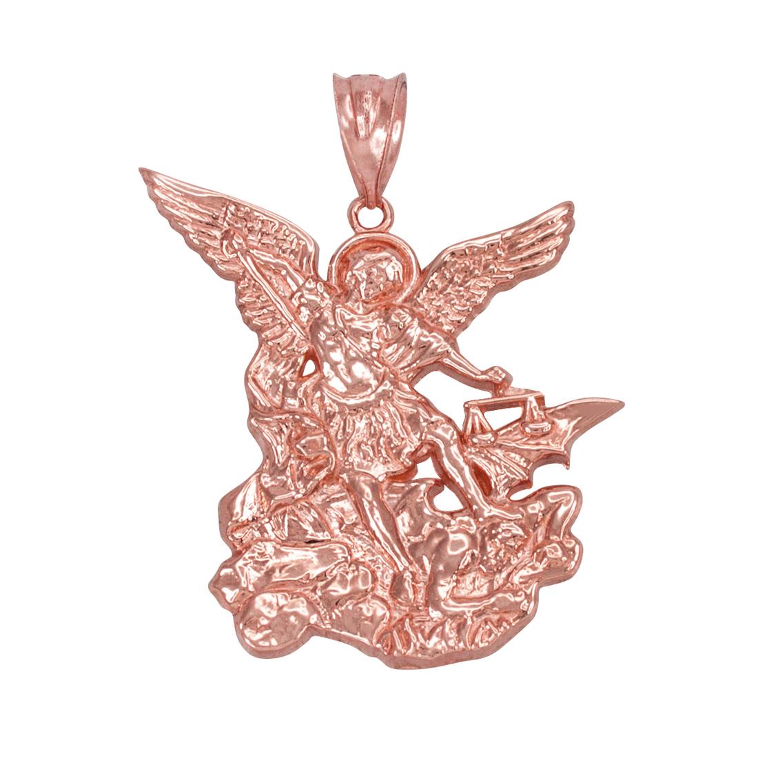 LA BLINGZ 14K White Gold St Michael Pendant Necklace