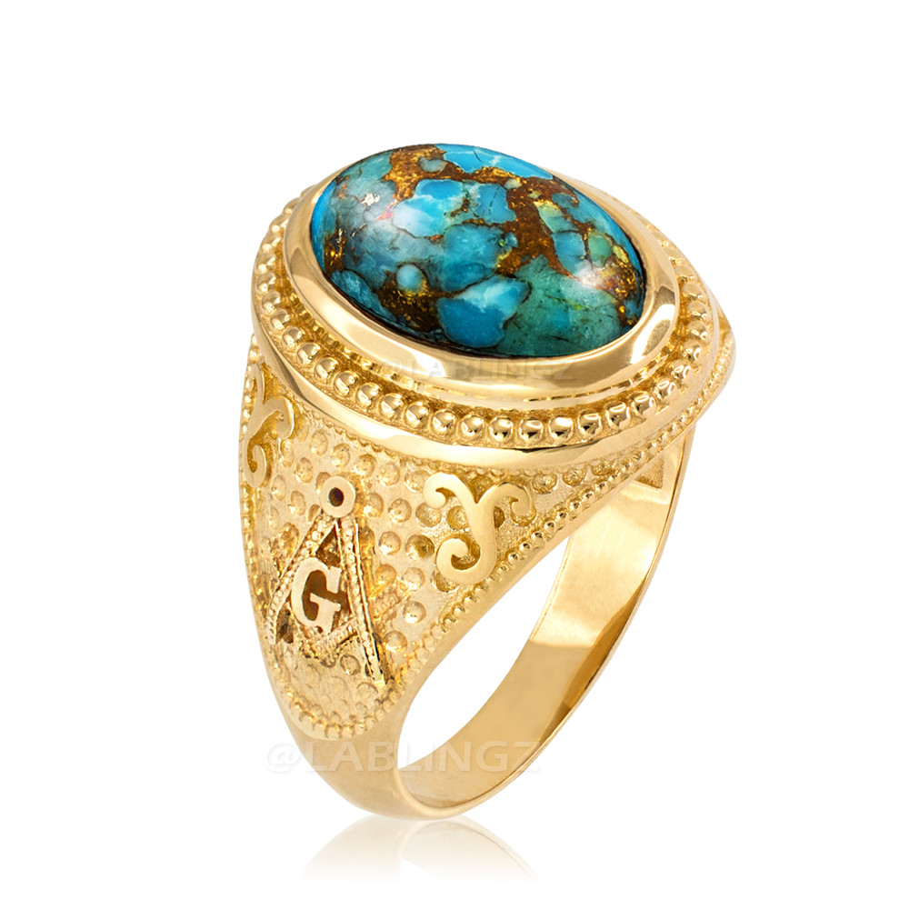 Yellow Gold Masonic Blue Copper Turquoise Statement Ring