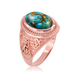 Rose Gold Masonic Blue Copper Turquoise Statement Ring