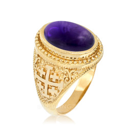 Gold Jerusalem Cross Purple Amethyst Statement Ring