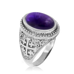 White Gold Jerusalem Cross Purple Amethyst Statement Ring