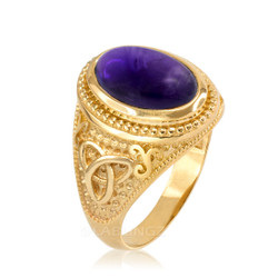 Gold Celtic Knot Band Purple Amethyst Statement Ring