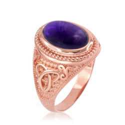 Rose Gold Celtic Knot Band Purple Amethyst Statement Ring
