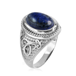 White Gold Celtic Knot Lapis Lazuli Gemstone Statement Ring
