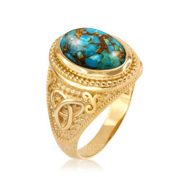 Yellow Gold Celtic Knot Blue Copper Turquoise Ring
