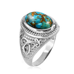 White Gold Celtic Knot Blue Copper Turquoise Statement Ring