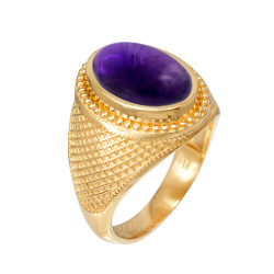 Yellow Gold Textured Band Purple Amethyst Statement Ring