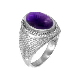 White Gold Textured Band Purple Amethyst Statement Ring