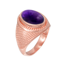 Rose Gold Textured Band Purple Amethyst Statement Ring