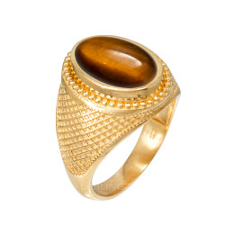 Yellow Gold Textured Band Tiger Eye Statement Ring