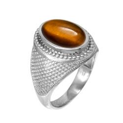 White Gold Textured Band Tiger Eye Statement Ring