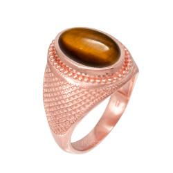 Rose Gold Textured Band Tiger Eye Statement Ring