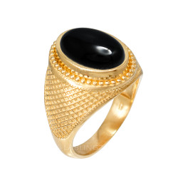 Yellow Gold Textured Band Black Onyx Statement Ring