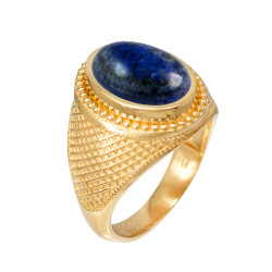 Yellow Gold Textured Band Lapis Lazuli Statement Ring