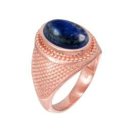 Rose Gold Textured Band Lapis Lazuli Statement Ring