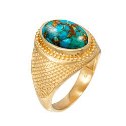 Yellow Gold Blue Copper Turquoise Statement Ring
