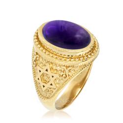 Gold Star of David Purple Amethyst Statement Ring