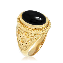 Gold Star of David Black Onyx Jewish Statement Ring