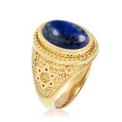 Gold Star of David Lapis Lazuli Gemstone Jewish Statement Ring