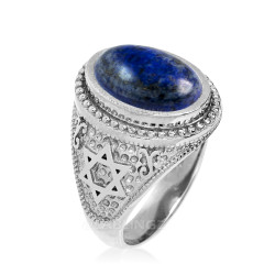 White Gold Star of David Lapis Lazuli Gemstone Jewish Statement Ring
