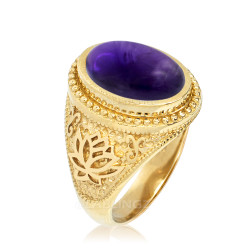 Gold Lotus Yoga Mantra Oval Amethyst Statement Ring