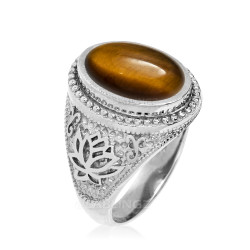 Sterling Silver Masonic Tiger Eye Cabochon Mens Statement Ring