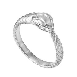 White Gold Tail Biting Ouroboros Snake