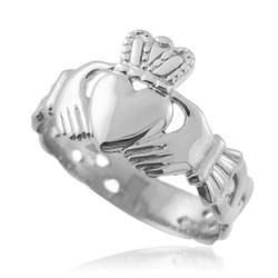 White Gold Claddagh Ring Men's