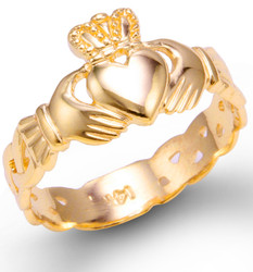 Gold Ladies Claddagh Trinity Band Ring