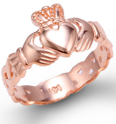 Rose Gold Ladies Claddagh Trinity Band Ring
