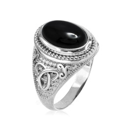 Sterling Silver Celtic Trinity Black Onyx Statement Ring