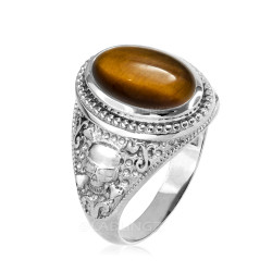 Sterling Silver Skull and Bone Tiger Eye Statement Ring.