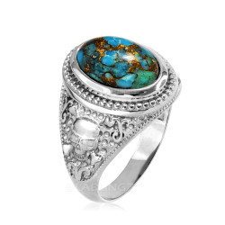 White Gold Skull and Bone Blue Copper Turquoise Statement Ring.