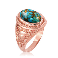 Rose Gold Skull and Bone Blue Copper Turquoise Statement Ring.