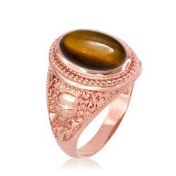 Rose Gold Skull and Bone Tiger Eye Statement Ring.