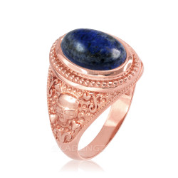 Rose Gold Skull and Bone Lapis Lazuli Statement Ring.