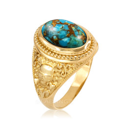 Gold Skull and Bone Blue Copper Turquoise Statement Ring.