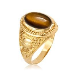 Gold Skull and Bone Tiger Eye Statement Ring.