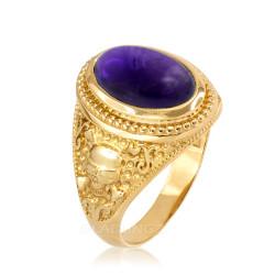Gold Skull and Bone Purple Amethyst Statement Ring.