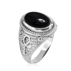 Sterling Silver Egyptian Ankh Cross Black Onyx Statement Ring