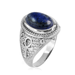 Sterling Silver Egyptian Ankh Cross Lapis Lazuli Statement Ring