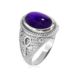 Sterling Silver Egyptian Ankh Cross Purple Amethyst Statement Ring