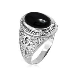 White Gold Egyptian Ankh Cross Black Onyx Statement Ring.