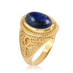Yellow Gold Egyptian Ankh Cross Lapis Lazuli Statement Ring.