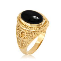 Yellow Gold Egyptian Ankh Cross Black Onyx Statement Ring.