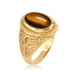 Yellow Gold Egyptian Ankh Cross Tiger Eye Statement Ring.